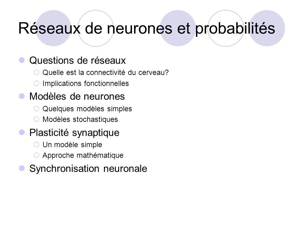 Formulation impulsionnelle V(t-) = seuil V(t+) = V 0 impulsion du neurone i: V(t+)=V(t-) + w i Modèle simple: Modèle avec courant synaptique V(t-) = seuil V(t+) = V 0 impulsion du neurone i: I(t+)=I(t-) + w i ¿ d V d t = ¡ V ¿ d V d t = ¡ V + I ¿ s d I d t = ¡ I G ( t ) = exp ( ¡ t = ¿ s )