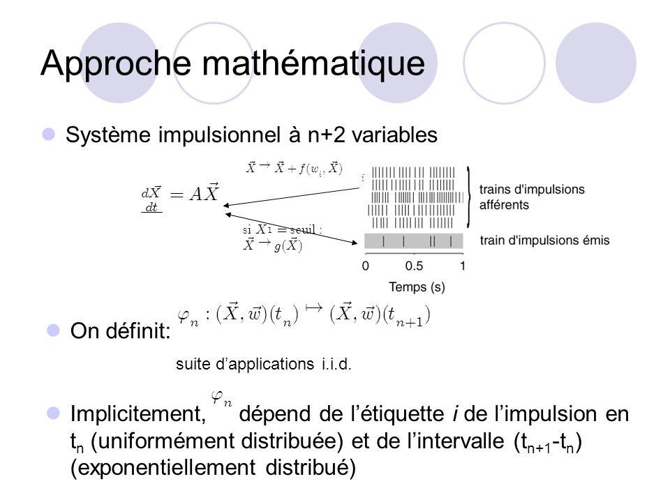 Approche mathématique Système impulsionnel à n+2 variables s i X 1 = seu i l : ~ X ! g ( ~ X ) i ~ X ! ~ X + f ( w i ; ~ X ) On définit: suite dapplic