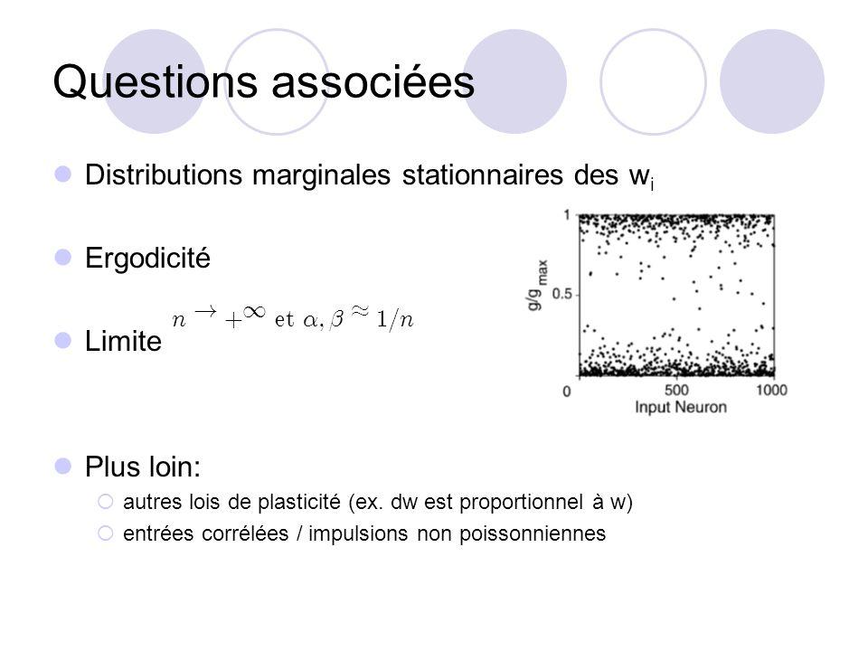 Questions associées Distributions marginales stationnaires des w i Ergodicité Limite Plus loin: autres lois de plasticité (ex. dw est proportionnel à