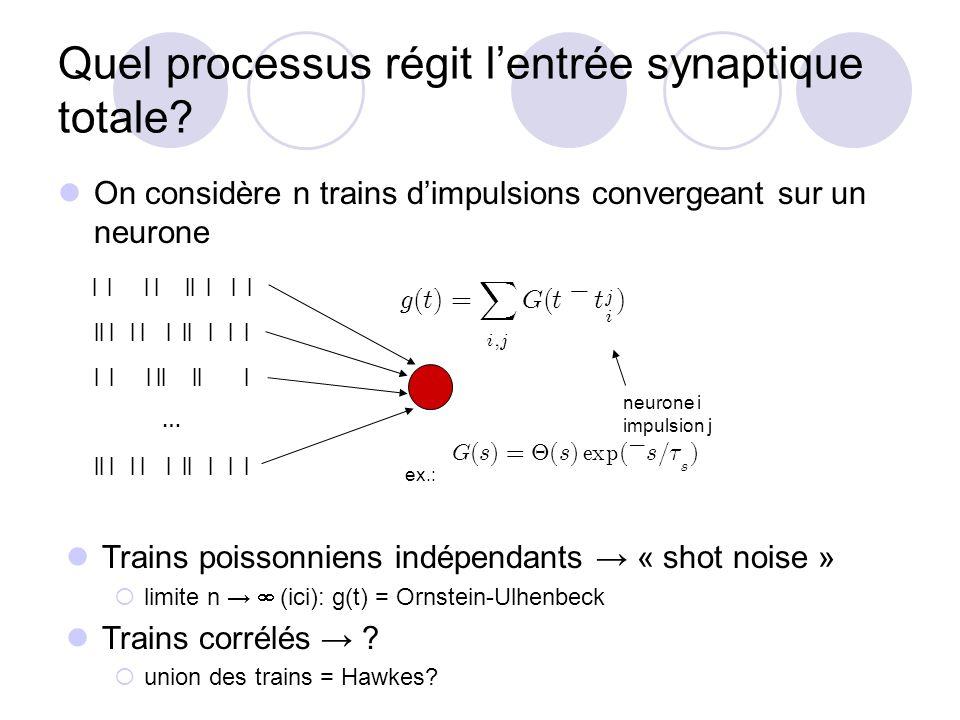 Quel processus régit lentrée synaptique totale? On considère n trains dimpulsions convergeant sur un neurone | | | | || | | | || | | | | || | | | | |