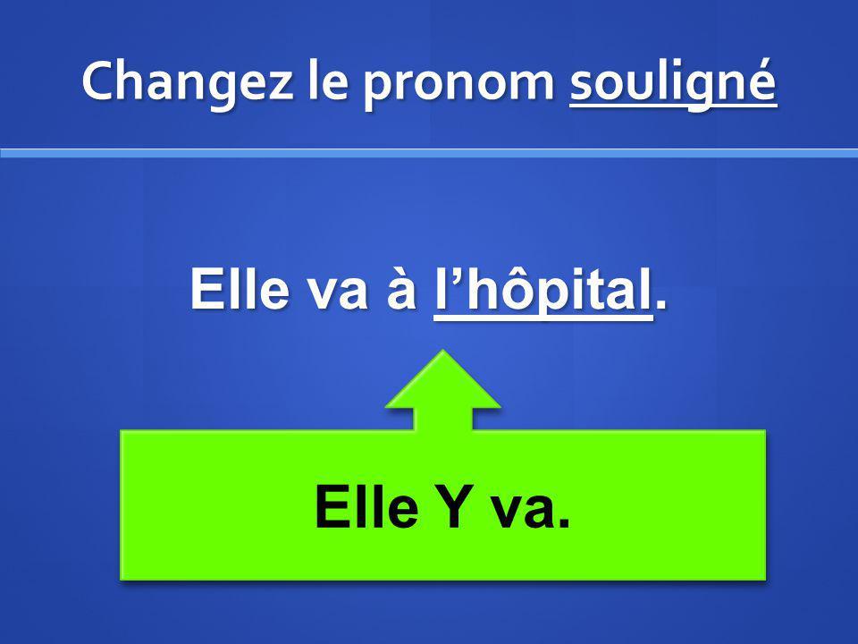 Changez le pronom souligné Elle va à lhôpital. Elle Y va.