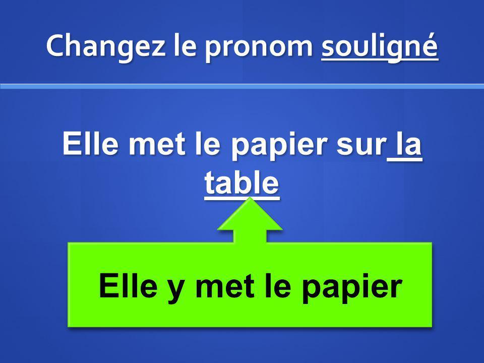 Changez le pronom souligné Elle met le papier sur la table Elle y met le papier