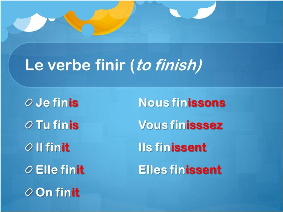 Le verbe finir (to finish) Je finisNous finissons Tu finisVous finisssez Il finitIls finissent Elle finitElles finissent On finit