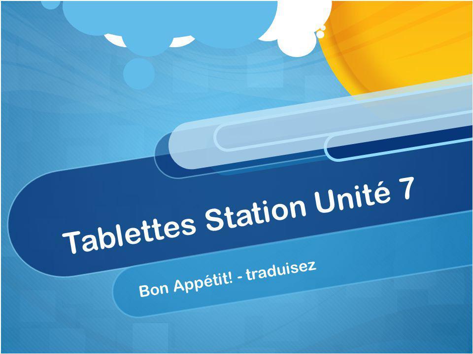 Tablettes Station Unité 7 Bon Appétit! - traduisez