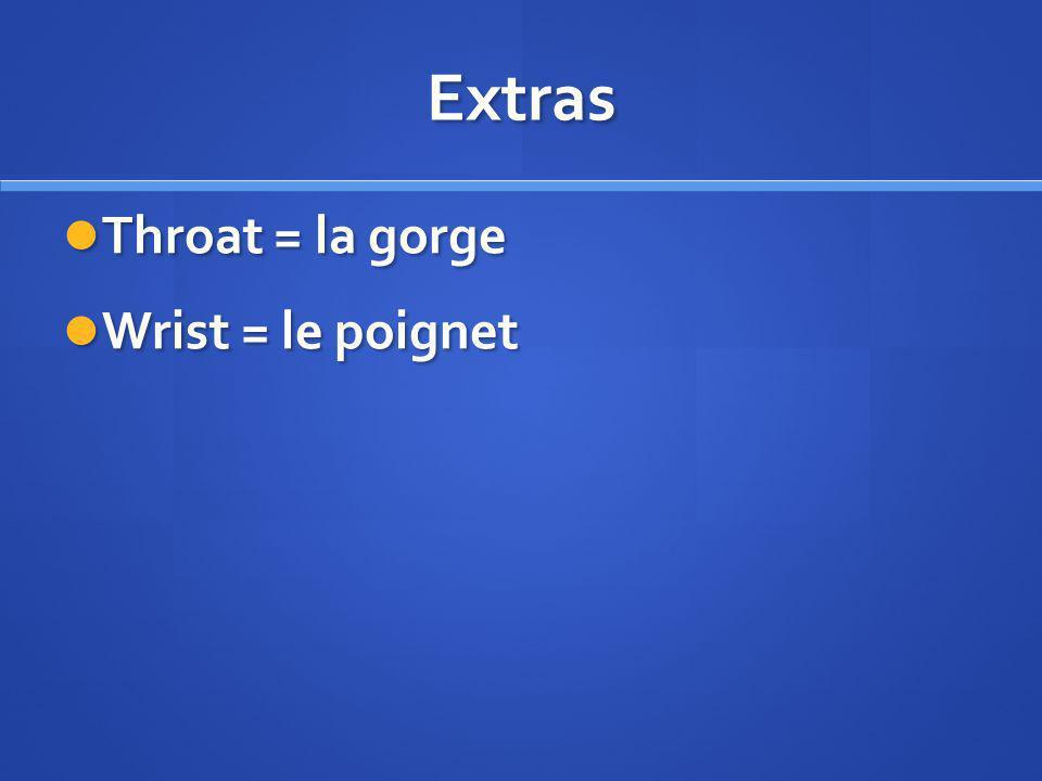 Extras Throat = la gorge Throat = la gorge Wrist = le poignet Wrist = le poignet