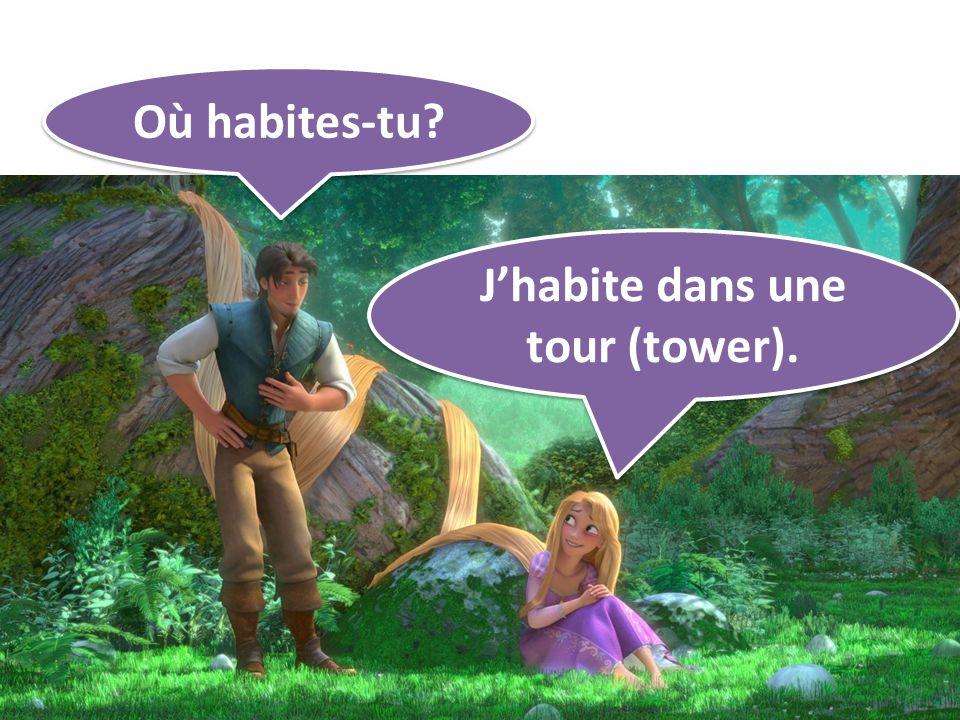 Où habites-tu? Jhabite dans une tour (tower).