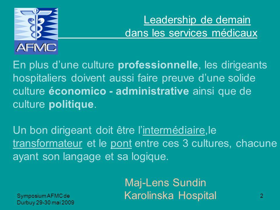 Symposium AFMC de Durbuy 29-30 mai 2009 2 Leadership de demain dans les services médicaux En plus dune culture professionnelle, les dirigeants hospitaliers doivent aussi faire preuve dune solide culture économico - administrative ainsi que de culture politique.