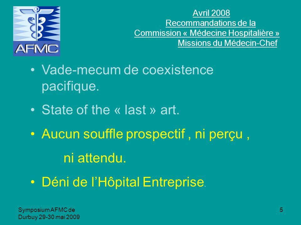 Symposium AFMC de Durbuy 29-30 mai 2009 5 Avril 2008 Recommandations de la Commission « Médecine Hospitalière » Missions du Médecin-Chef Vade-mecum de coexistence pacifique.