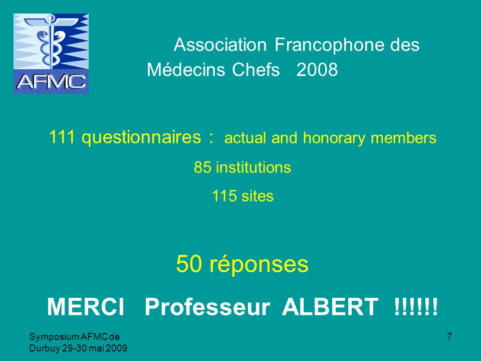 Symposium AFMC de Durbuy 29-30 mai 2009 7 Association Francophone des Médecins Chefs 2008 111 questionnaires : actual and honorary members 85 institutions 115 sites 50 réponses MERCI Professeur ALBERT !!!!!!