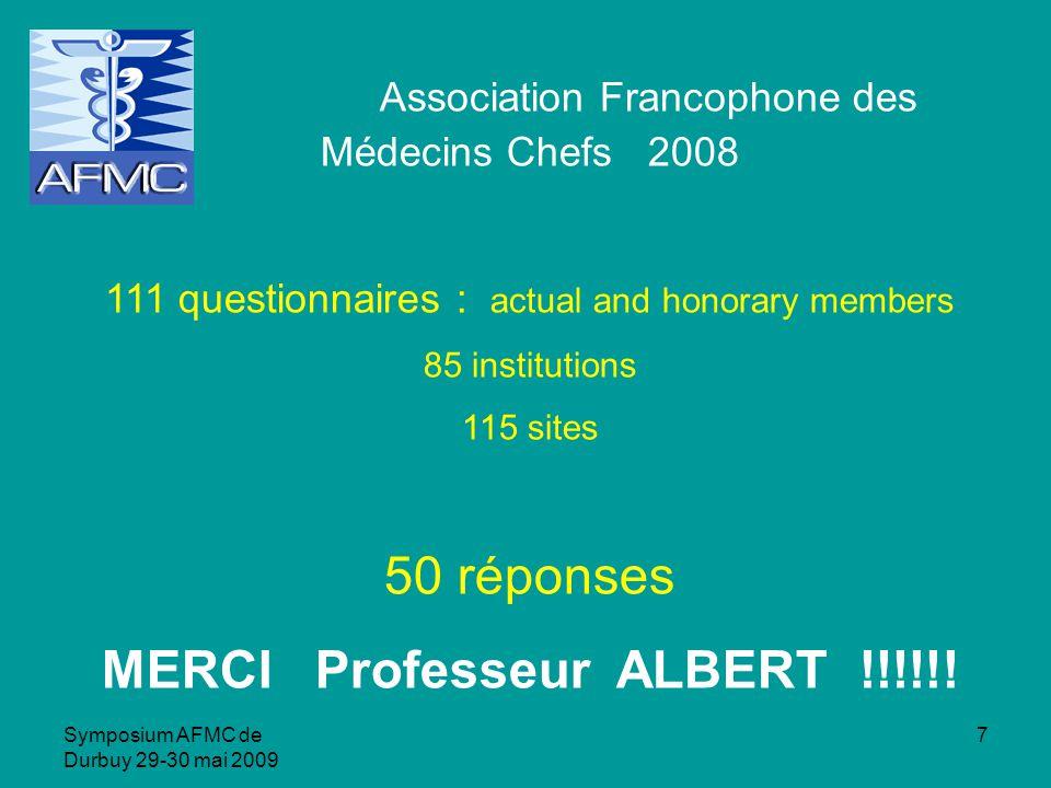 Symposium AFMC de Durbuy 29-30 mai 2009 38 Caractéristiques des institutions hospitalières (1)
