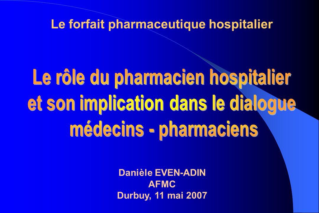 Danièle EVEN-ADIN AFMC Durbuy, 11 mai 2007 Le forfait pharmaceutique hospitalier