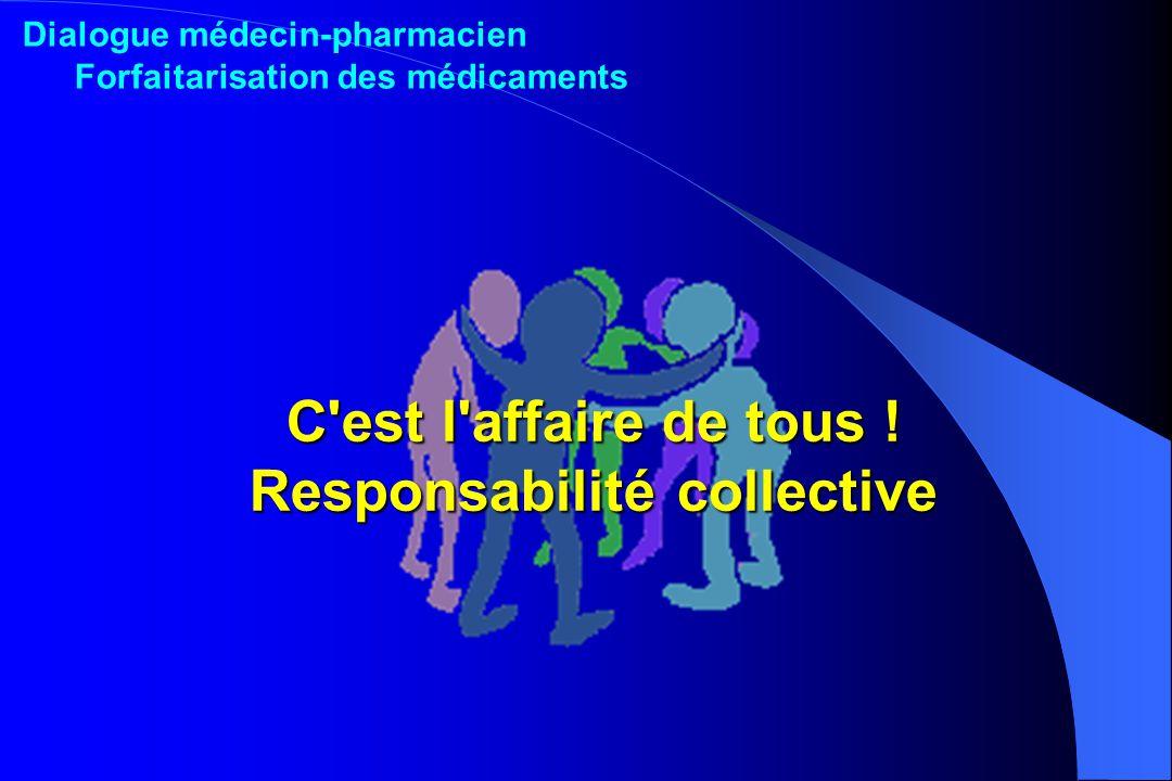 C'est l'affaire de tous ! Responsabilité collective Dialogue médecin-pharmacien Forfaitarisation des médicaments