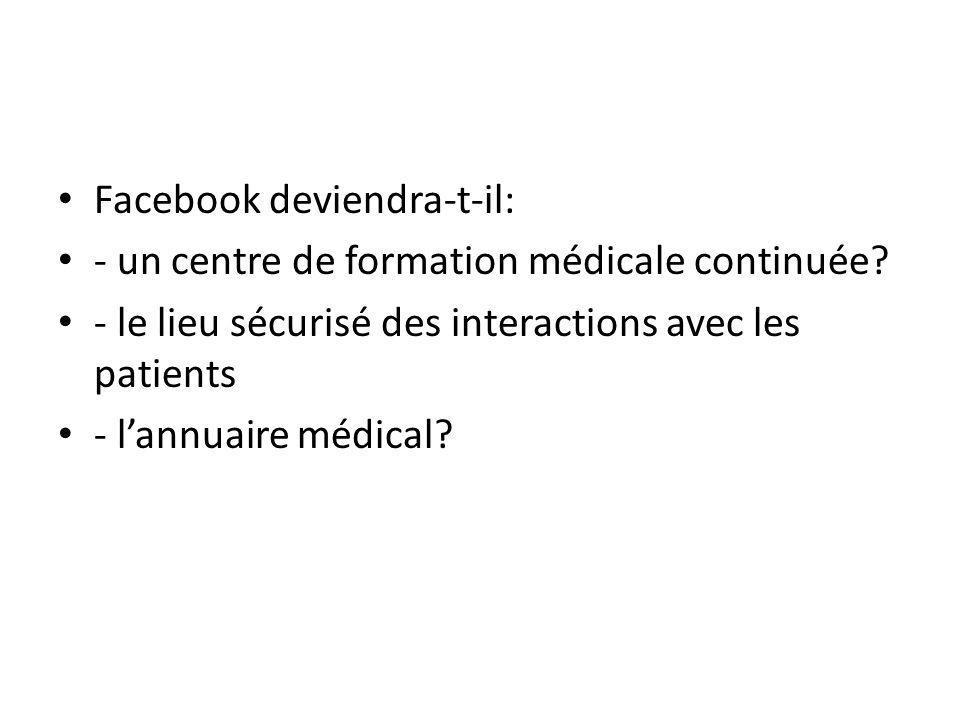 Facebook deviendra-t-il: - un centre de formation médicale continuée.
