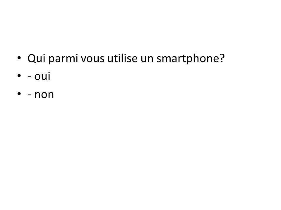Qui parmi vous utilise un smartphone? 1 - OUI 2 - NON 90% 10%