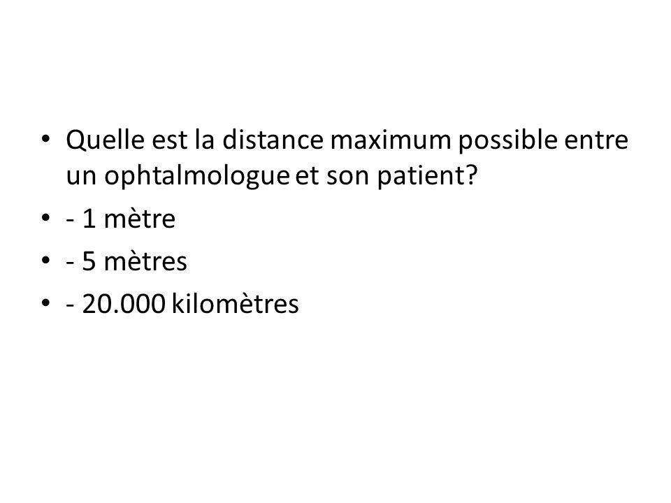 Quelle est la distance maximum possible entre un ophtalmologue et son patient.