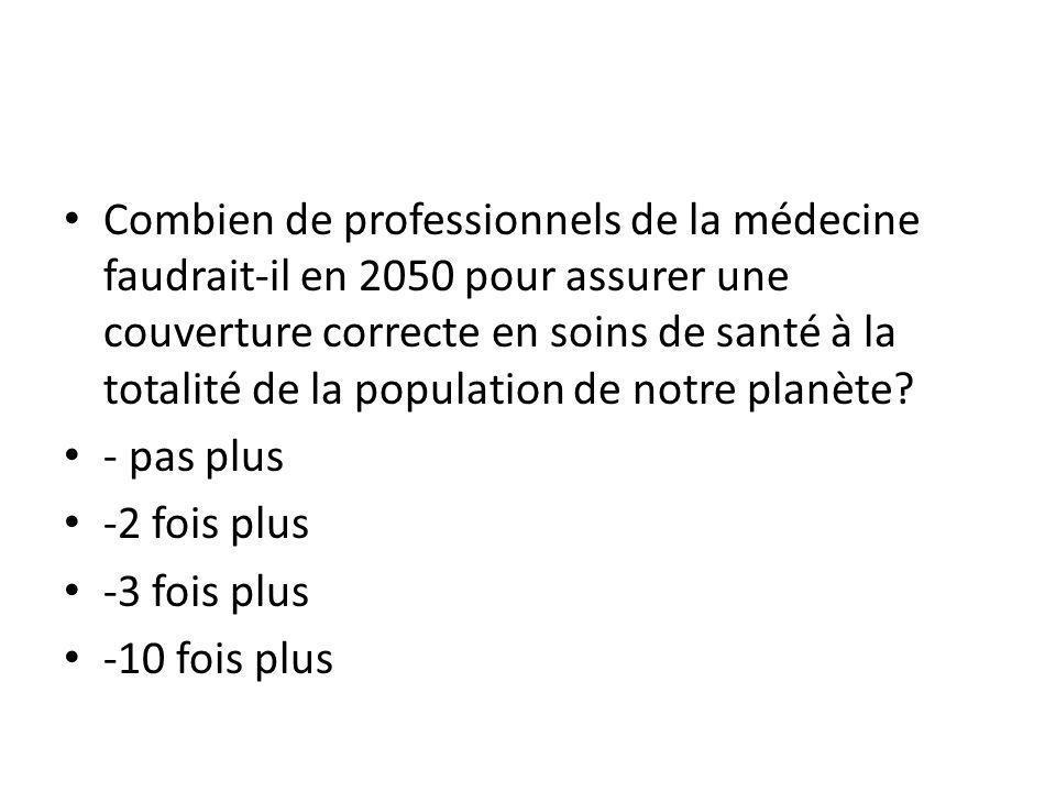 Combien de professionnels de la médecine faudrait-il en 2050 pour assurer une couverture correcte en soins de santé à la totalité de la population de notre planète.