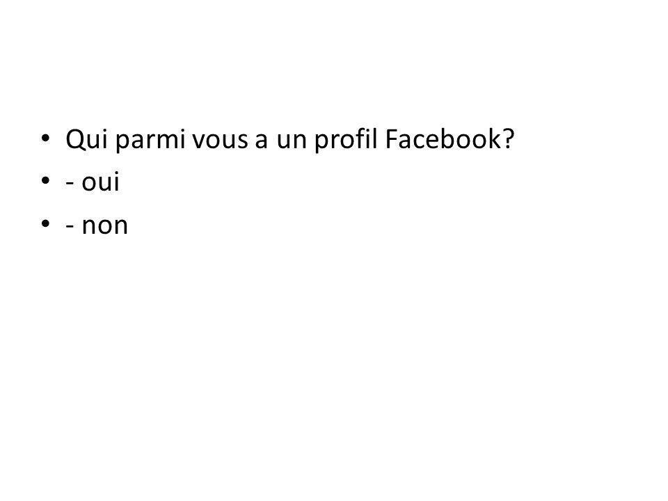Qui parmi vous a un profil Facebook - oui - non