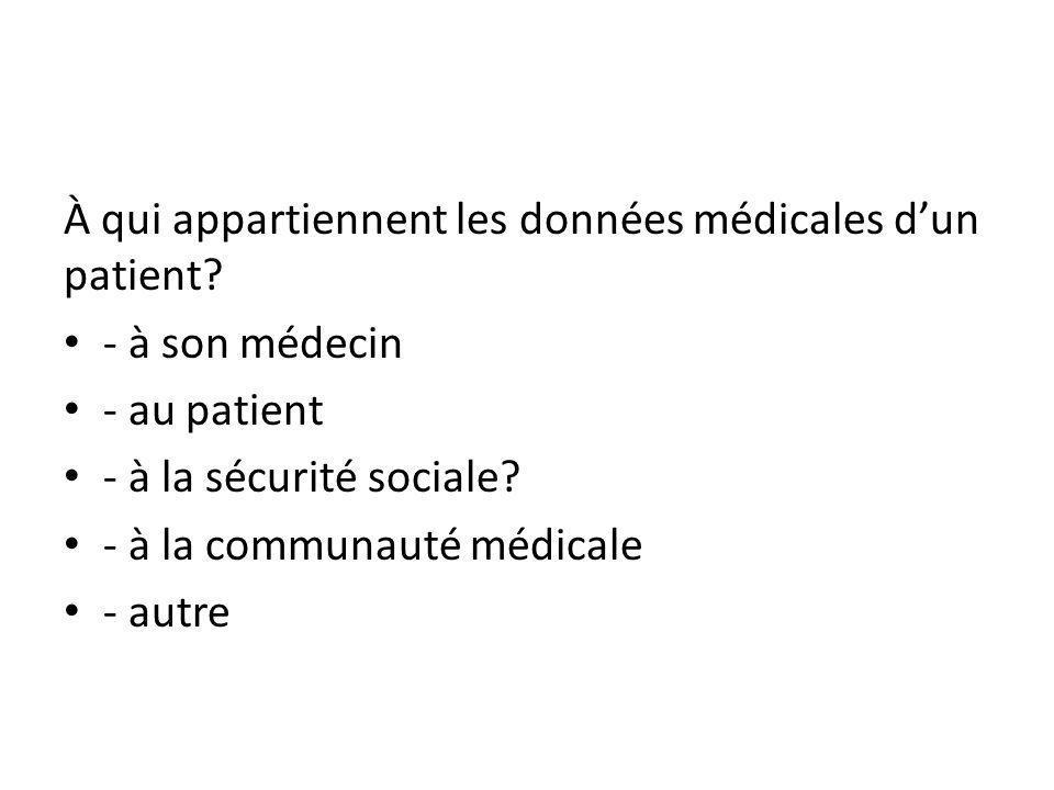À qui appartiennent les données médicales dun patient.