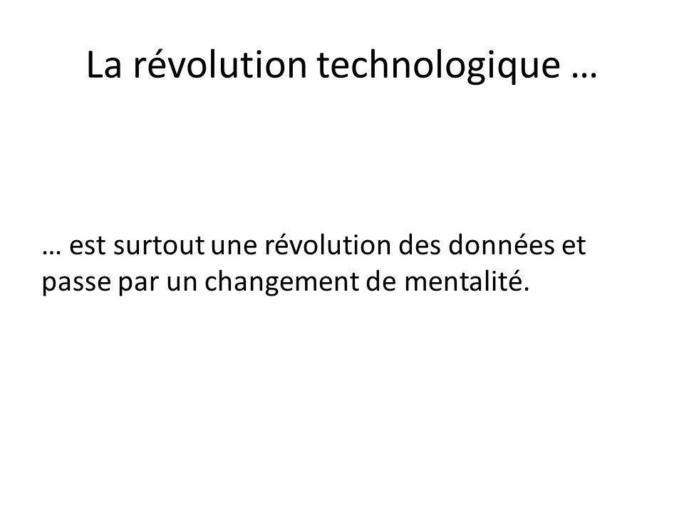 La révolution technologique … … est surtout une révolution des données et passe par un changement de mentalité.