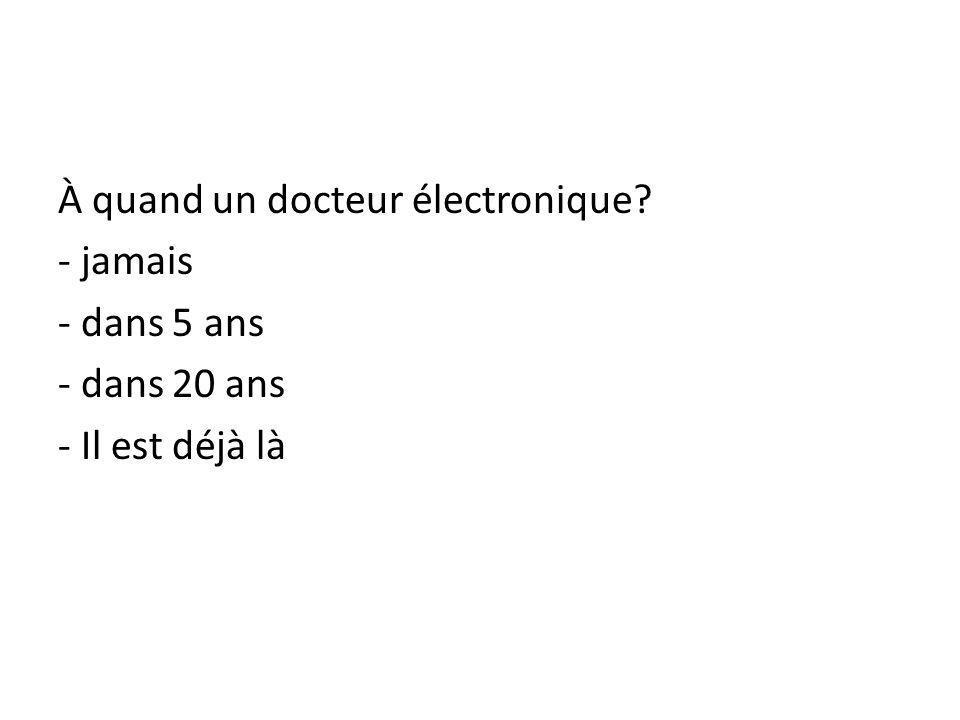 À quand un docteur électronique - jamais - dans 5 ans - dans 20 ans - Il est déjà là