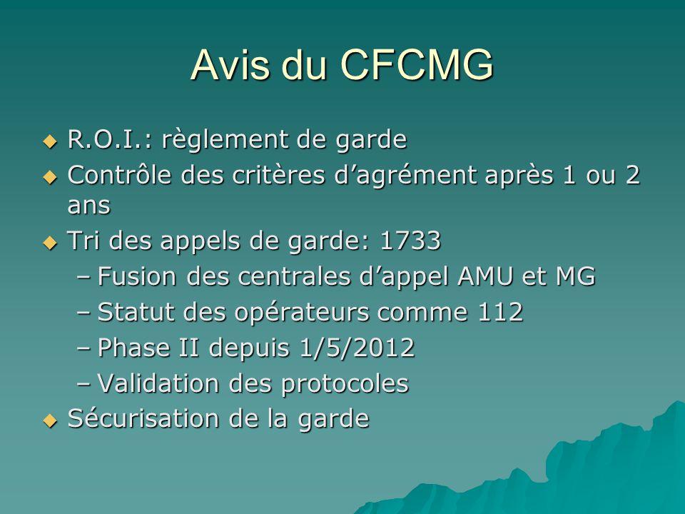 Avis du CFCMG R.O.I.: règlement de garde R.O.I.: règlement de garde Contrôle des critères dagrément après 1 ou 2 ans Contrôle des critères dagrément a