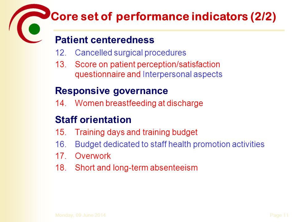Page 11Monday, 09 June 2014 Core set of performance indicators (2/2) Patient centeredness 12.Cancelled surgical procedures 13.Score on patient percept
