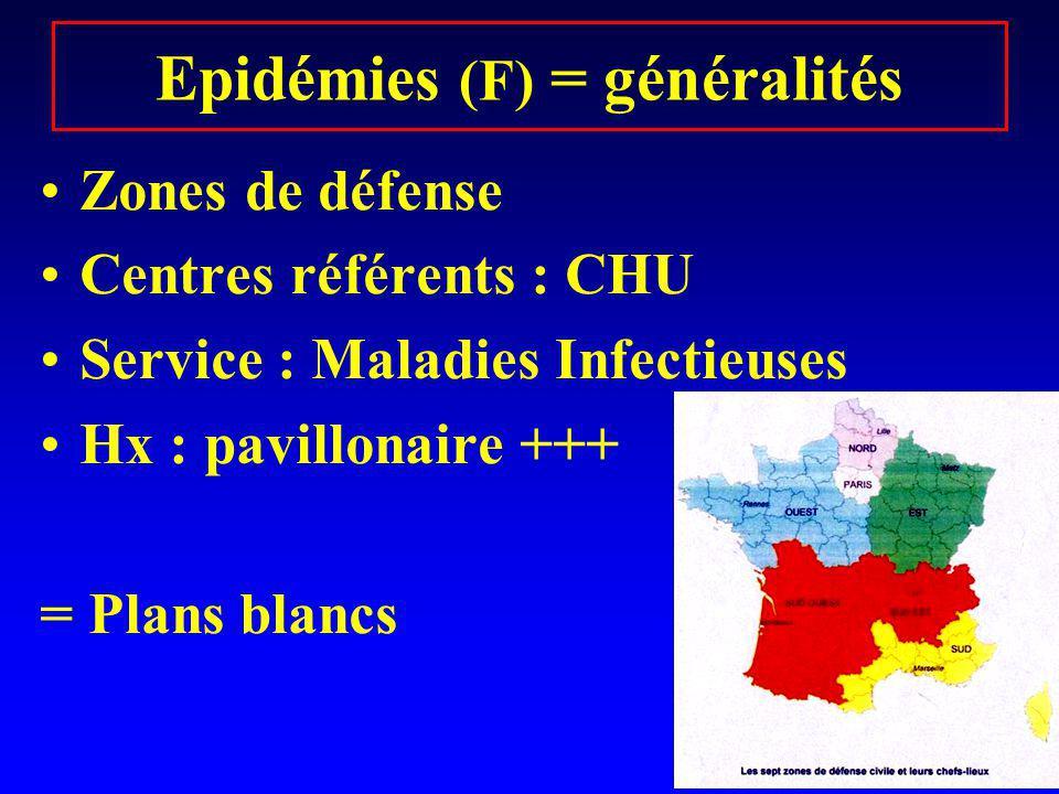 Epidémies (F) = généralités Zones de défense Centres référents : CHU Service : Maladies Infectieuses Hx : pavillonaire +++ = Plans blancs