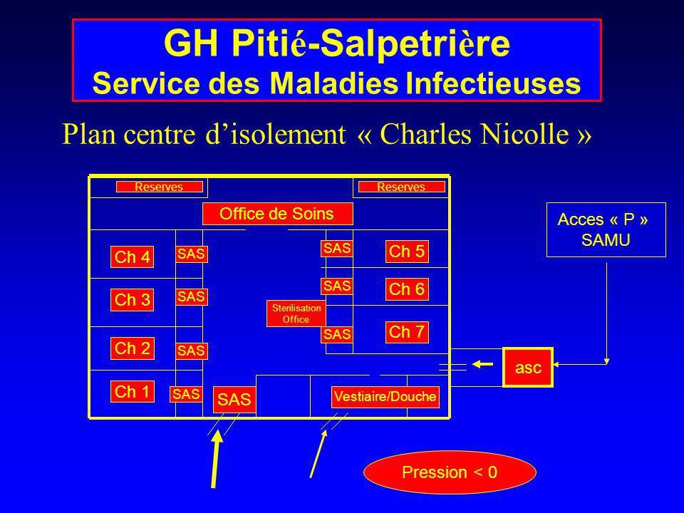 Plan centre disolement « Charles Nicolle » asc Ch 4 Ch 5 Ch 7 Ch 6 Ch 3 Ch 2 Ch 1 Office de Soins Reserves Sterilisation Office Vestiaire/Douche SAS A