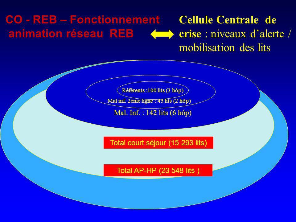 Cellule Centrale de crise : niveaux dalerte / mobilisation des lits Total AP-HP (23 548 lits ) CO - REB – Fonctionnement animation réseau REB Total co