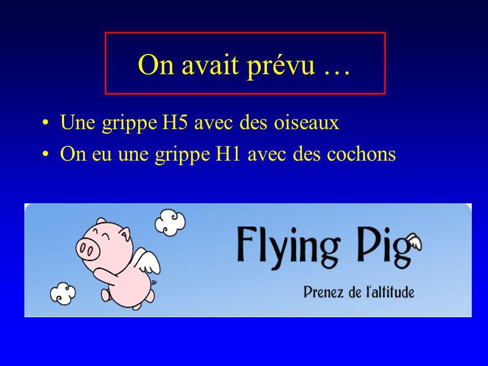 On avait prévu … Une grippe H5 avec des oiseaux On eu une grippe H1 avec des cochons