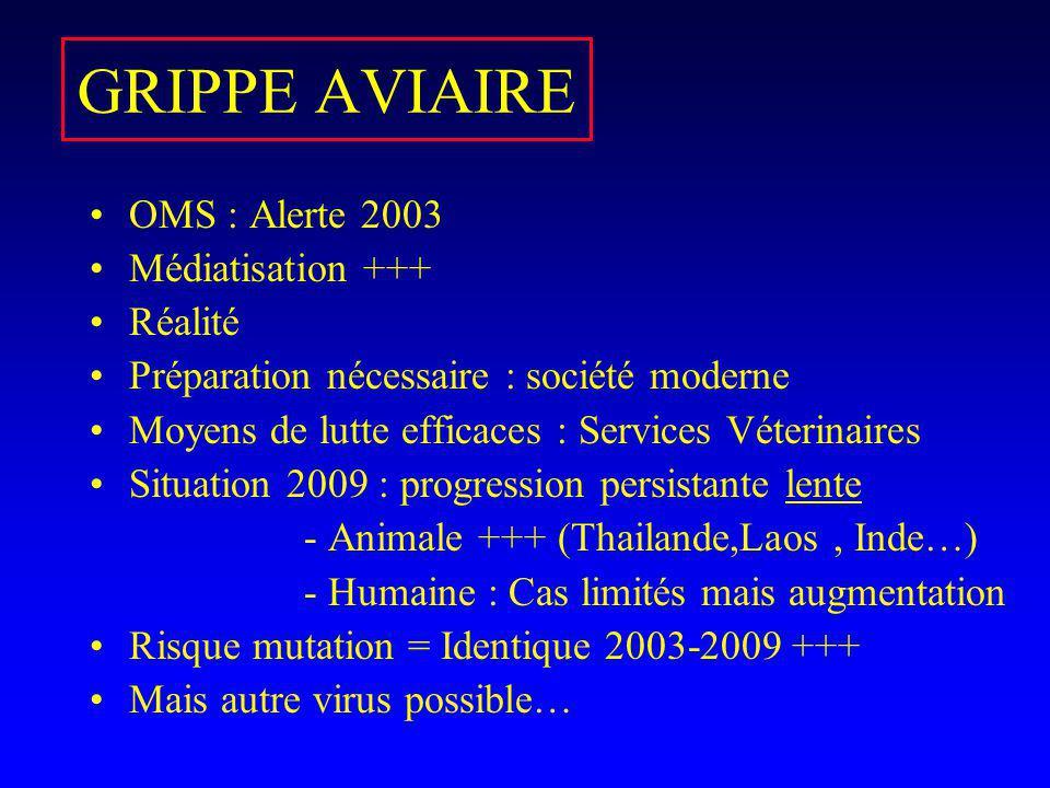 GRIPPE AVIAIRE OMS : Alerte 2003 Médiatisation +++ Réalité Préparation nécessaire : société moderne Moyens de lutte efficaces : Services Véterinaires