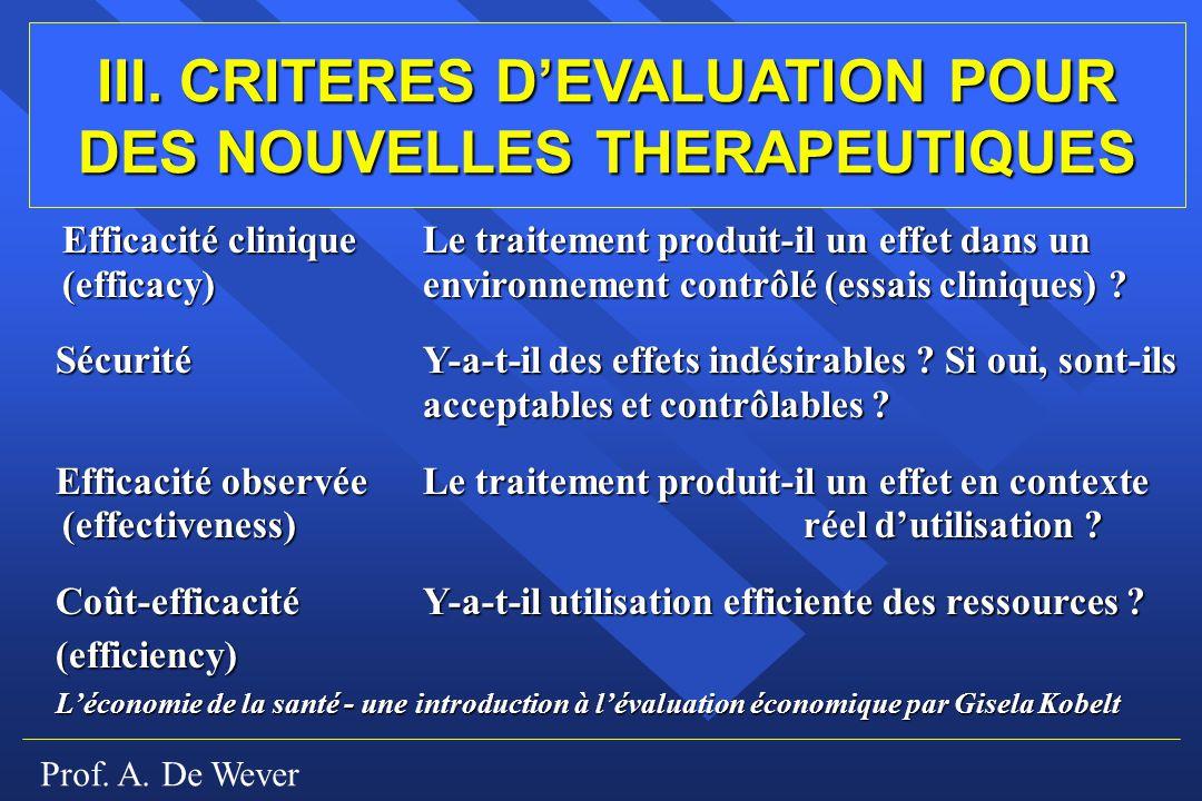 Prof. A. De Wever Efficacité cliniqueLe traitement produit-il un effet dans un (efficacy)environnement contrôlé (essais cliniques) ? SécuritéY-a-t-il