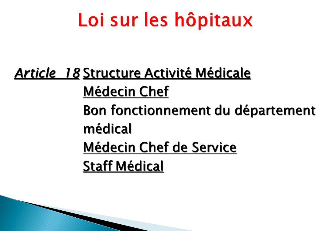 Article 18Structure Activité Médicale Médecin Chef Bon fonctionnement du département médical Médecin Chef de Service Staff Médical Loi sur les hôpitaux