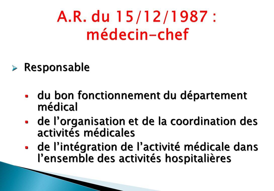 Responsable Responsable du bon fonctionnement du département médical du bon fonctionnement du département médical de lorganisation et de la coordinati