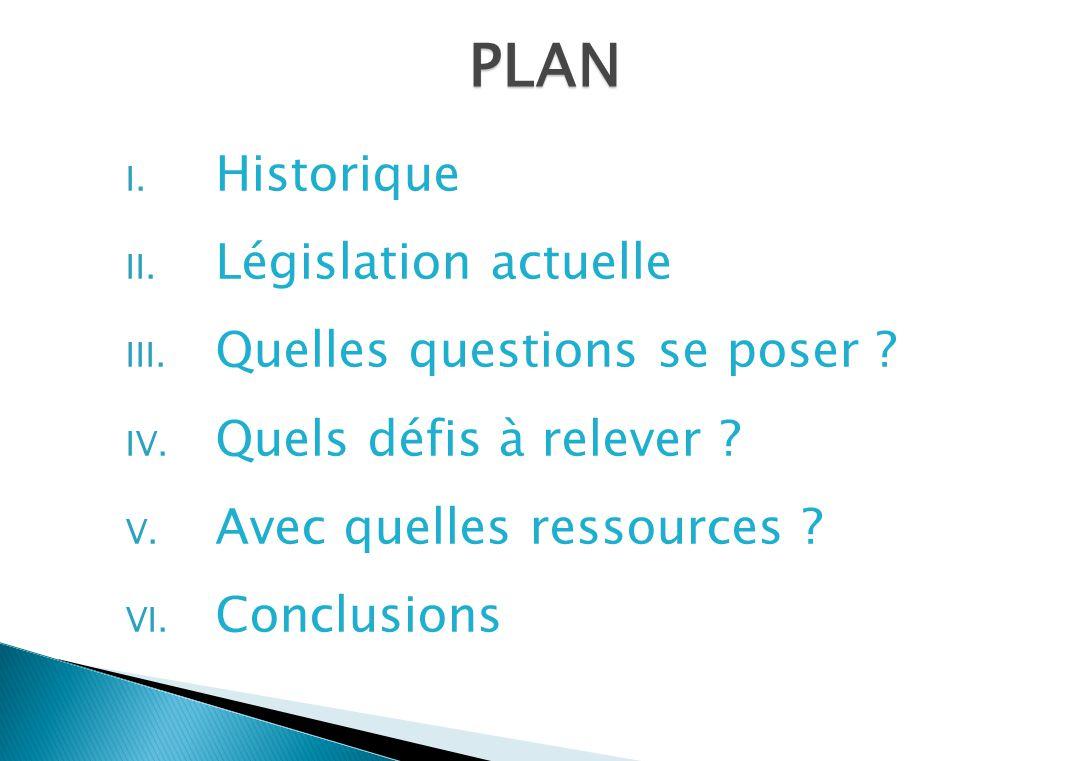 I. Historique II. Législation actuelle III. Quelles questions se poser ? IV. Quels défis à relever ? V. Avec quelles ressources ? VI. Conclusions PLAN
