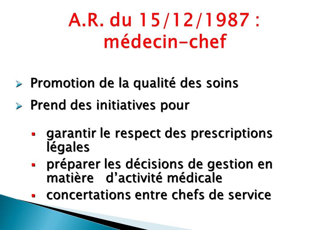 Promotion de la qualité des soins Promotion de la qualité des soins Prend des initiatives pour Prend des initiatives pour garantir le respect des pres