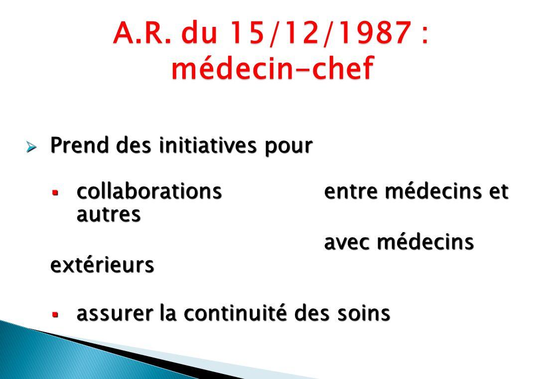 Prend des initiatives pour Prend des initiatives pour collaborations entre médecins et autres collaborations entre médecins et autres avec médecins extérieurs assurer la continuité des soins assurer la continuité des soins A.R.