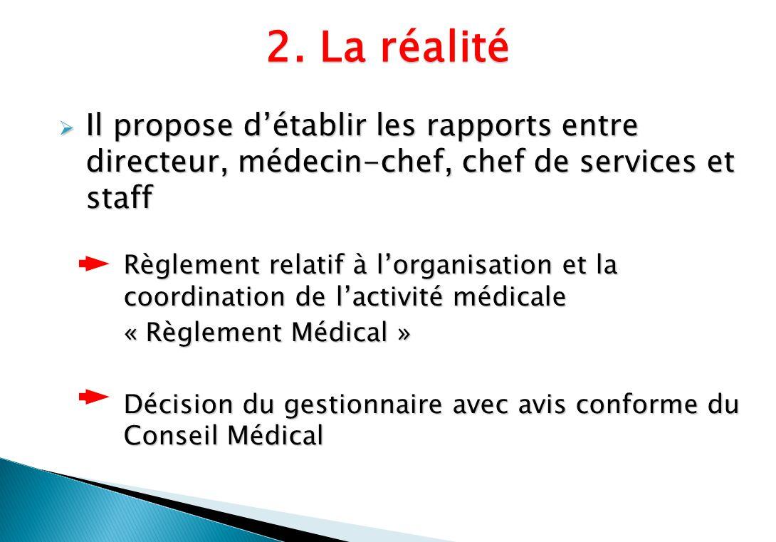 Il propose détablir les rapports entre directeur, médecin-chef, chef de services et staff Il propose détablir les rapports entre directeur, médecin-ch