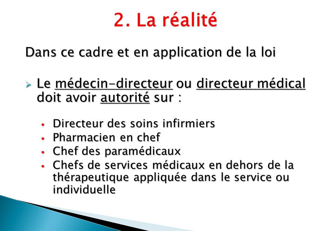Dans ce cadre et en application de la loi Le médecin-directeur ou directeur médical doit avoir autorité sur : Le médecin-directeur ou directeur médica
