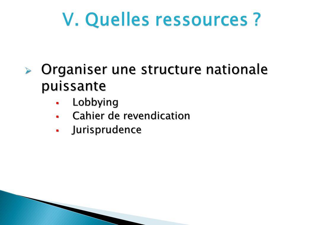 V. Quelles ressources ? Organiser une structure nationale puissante Organiser une structure nationale puissante Lobbying Lobbying Cahier de revendicat