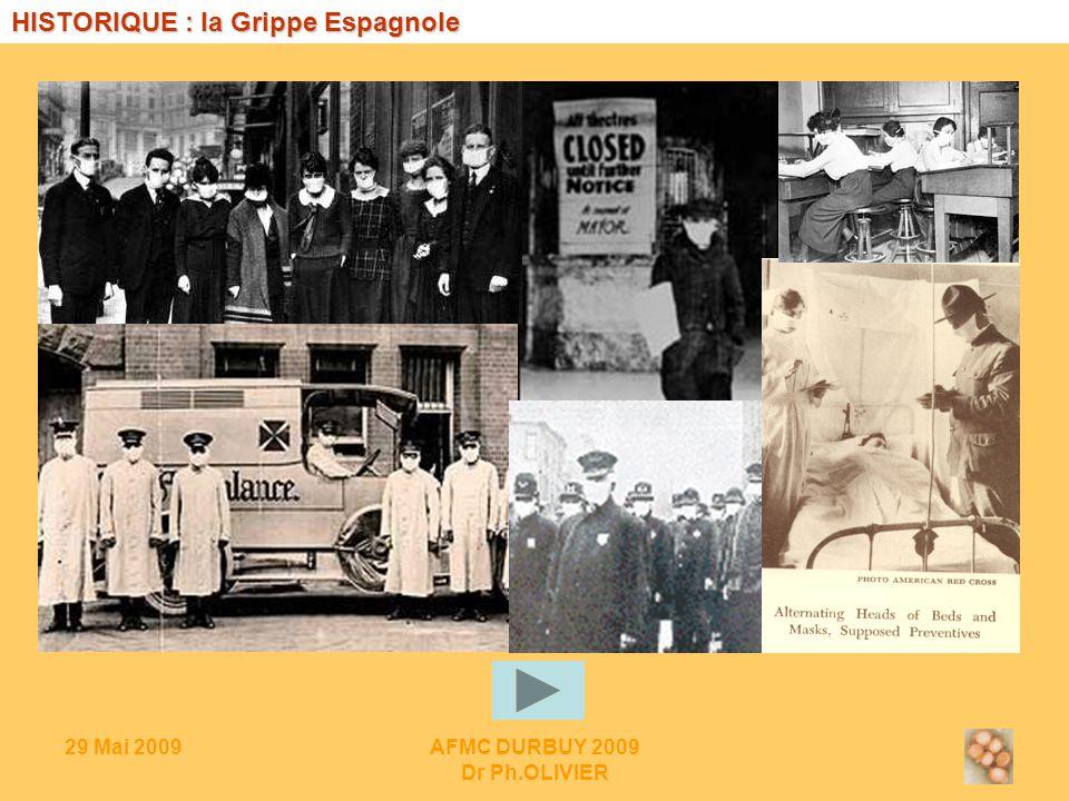 29 Mai 2009AFMC DURBUY 2009 Dr Ph.OLIVIER HISTORIQUE : la Grippe Espagnole