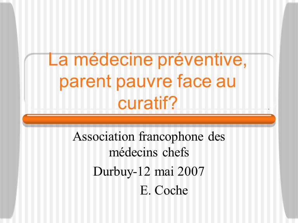 La médecine préventive, parent pauvre face au curatif? Association francophone des médecins chefs Durbuy-12 mai 2007 E. Coche