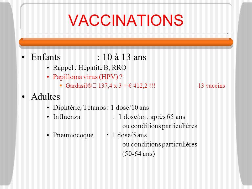 VACCINATIONS Enfants : 10 à 13 ans Rappel : Hépatite B, RRO Papilloma virus (HPV) ? Gardasil® 137,4 x 3 = 412,2 !!!13 vaccins Adultes Diphtérie, Tétan