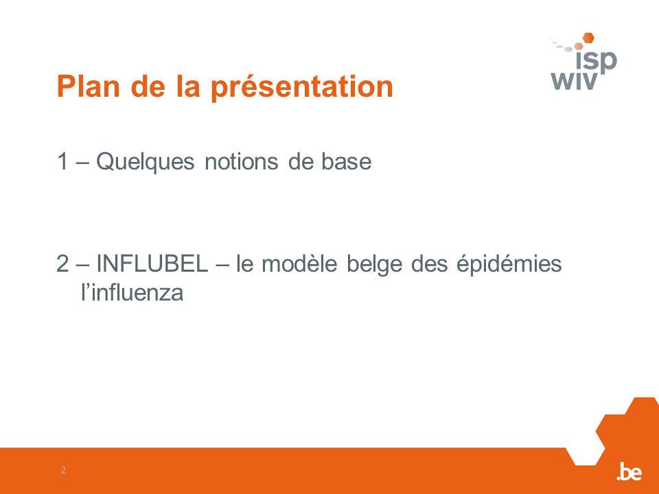 2 Plan de la présentation 1 – Quelques notions de base 2 – INFLUBEL – le modèle belge des épidémies linfluenza