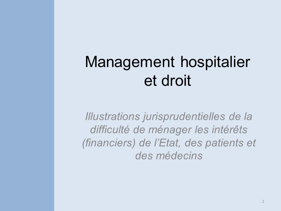 Management hospitalier et droit Illustrations jurisprudentielles de la difficulté de ménager les intérêts (financiers) de lEtat, des patients et des m