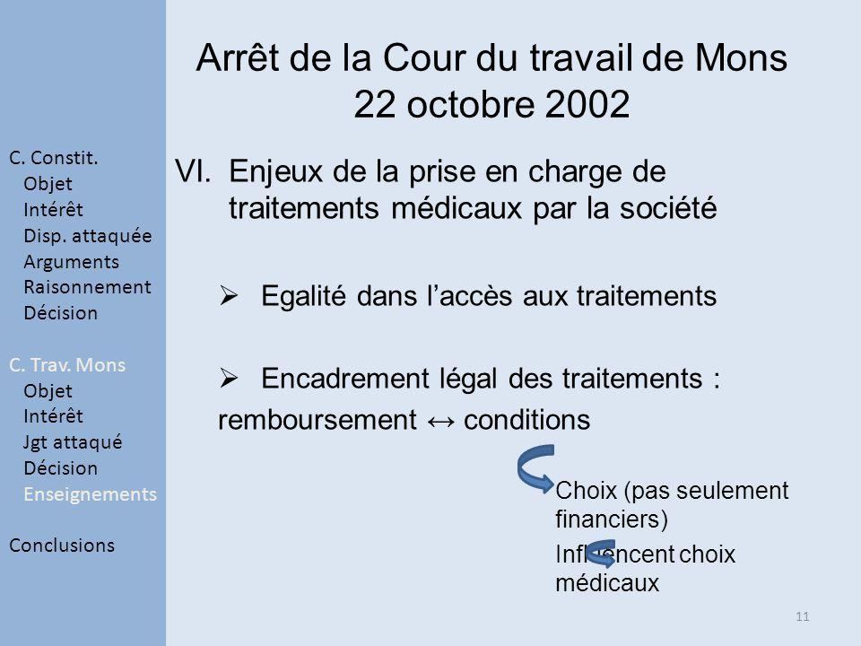 Arrêt de la Cour du travail de Mons 22 octobre 2002 VI.Enjeux de la prise en charge de traitements médicaux par la société Egalité dans laccès aux tra