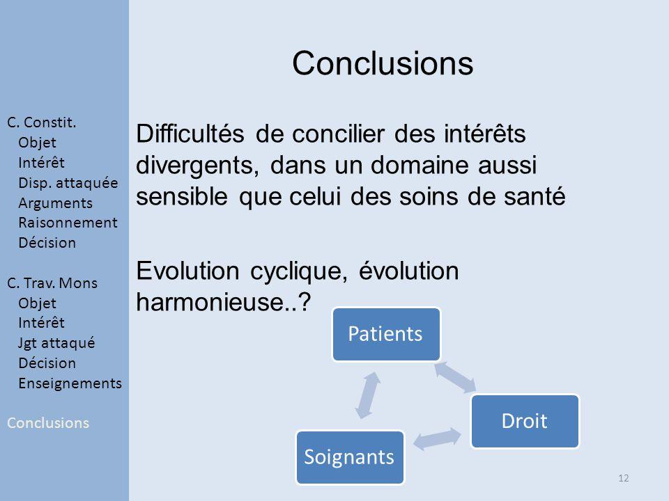 Difficultés de concilier des intérêts divergents, dans un domaine aussi sensible que celui des soins de santé Evolution cyclique, évolution harmonieuse...