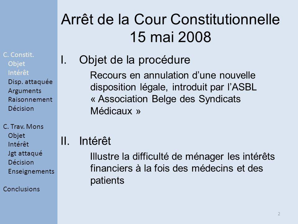 Arrêt de la Cour Constitutionnelle 15 mai 2008 I.Objet de la procédure Recours en annulation dune nouvelle disposition légale, introduit par lASBL « A