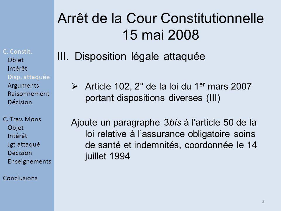 Arrêt de la Cour Constitutionnelle 15 mai 2008 III.Disposition légale attaquée Article 102, 2° de la loi du 1 er mars 2007 portant dispositions divers