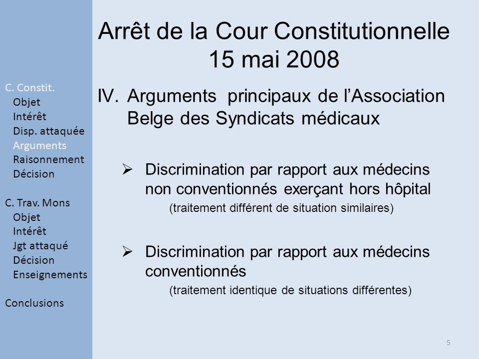 Arrêt de la Cour Constitutionnelle 15 mai 2008 IV.Arguments principaux de lAssociation Belge des Syndicats médicaux Discrimination par rapport aux méd